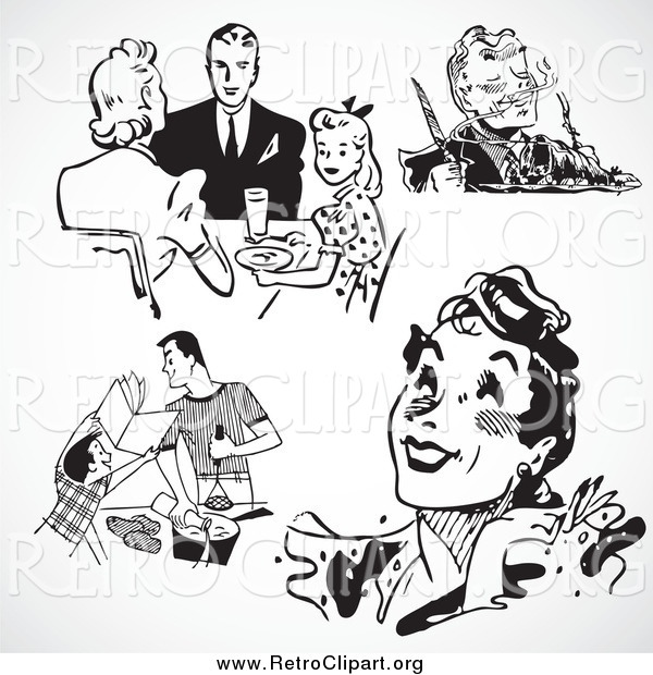 Clipart of Black and White Retro People and Food