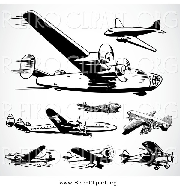 Clipart of Black and White Retro Planes on Shading