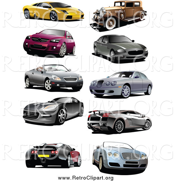 Clipart of Coupes, Vintage, and Sports Cars