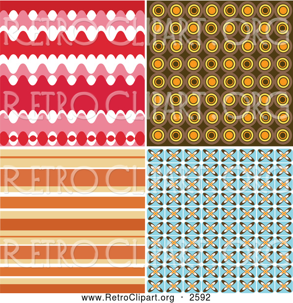 Clipart of Four Retro Backgrounds