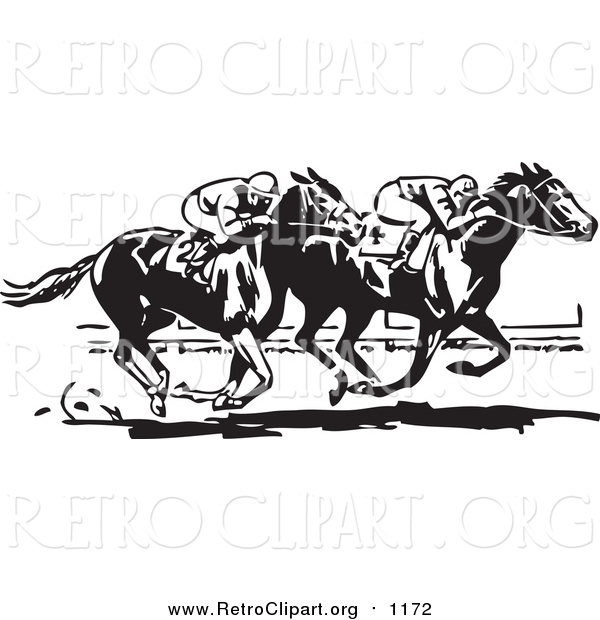 Clipart of Retro Black and White Jockeys and Horses in a Race