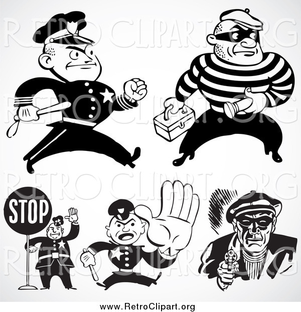 Clipart of Retro Black and White Police Officers and Criminals