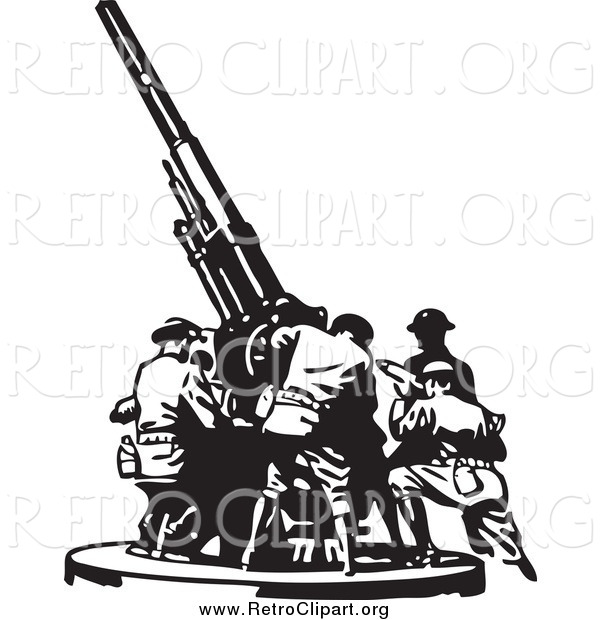Clipart of Retro Black and White Soldiers Setting up a Military Gun