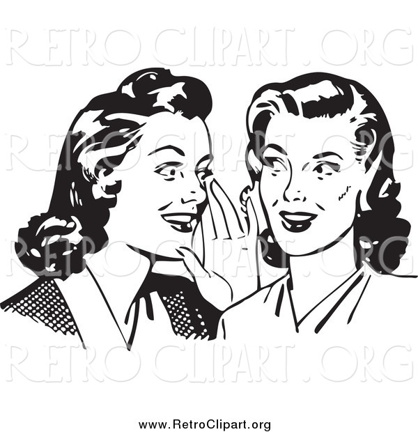 Clipart of Retro Gossiping Women, in Black and White