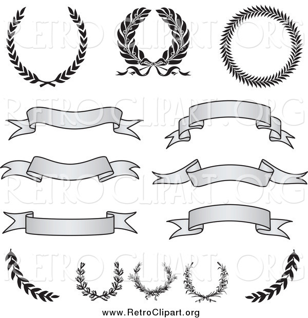Clipart of Retro Grayscale Banners, Laurels and Wreaths