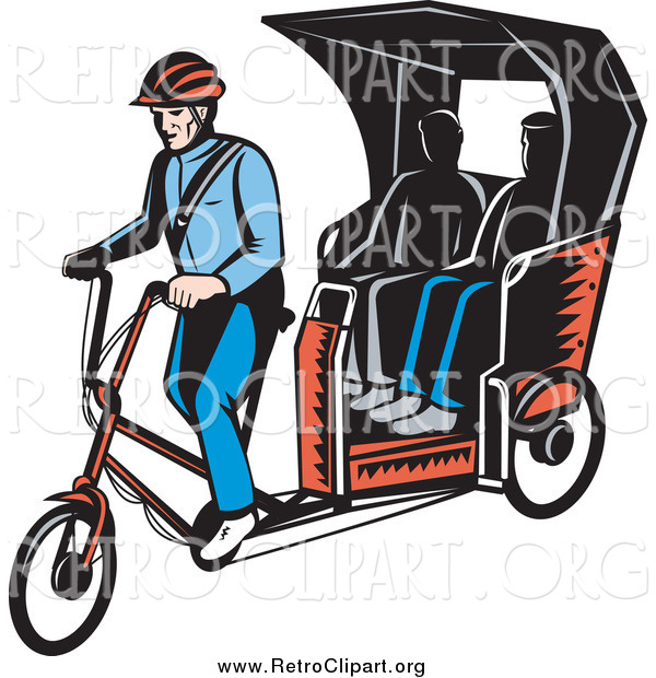 Clipart of Retro People Riding on a Rickshaw