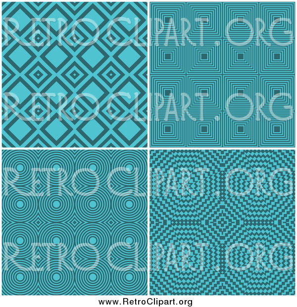 Clipart of Retro Turquoise Pattern Backgrounds