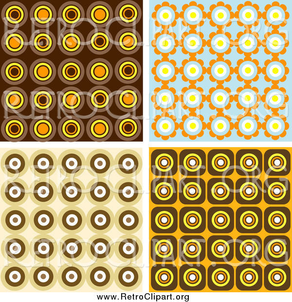 Clipart of Retro Wallpaper Backgrounds of Orange, Brown and Blue Circles