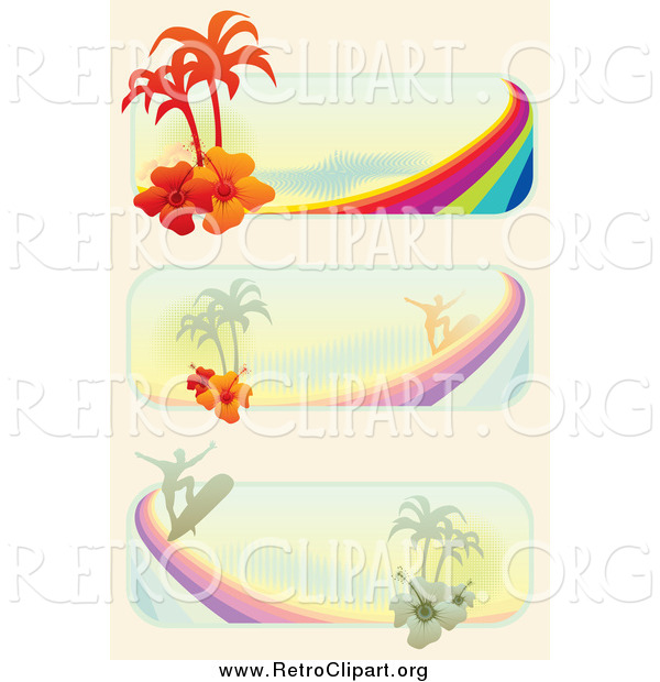 Clipart of Tropical Surf Website Banners