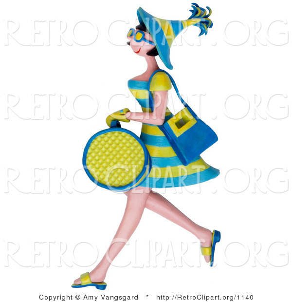 Retro Clipart of a 3d Shopping Woman in Green and Blue Carrying Bags