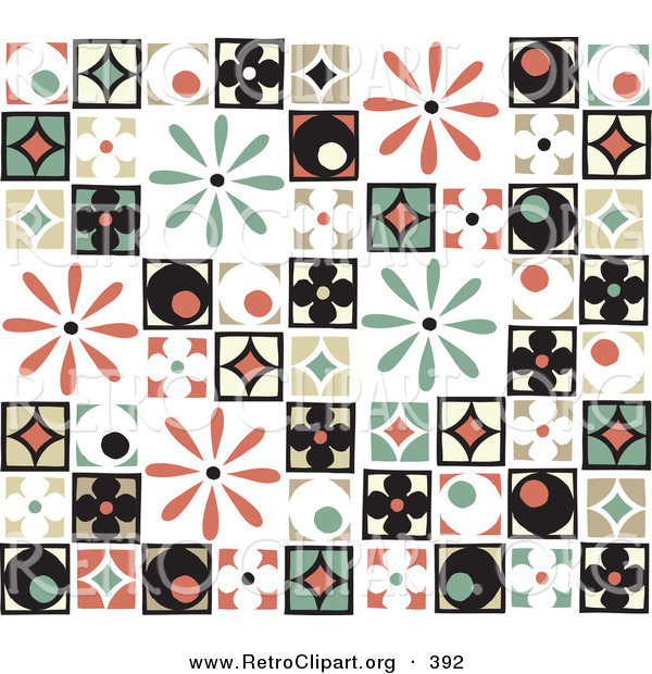 Retro Clipart of a Background of Colorful Retro Patchwork Tiles with Flowers, Diamonds and Circle Patterns