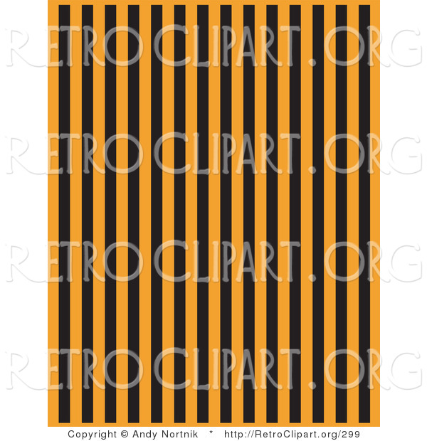 Retro Clipart of a Background with Orange and Black Vertical Stripes