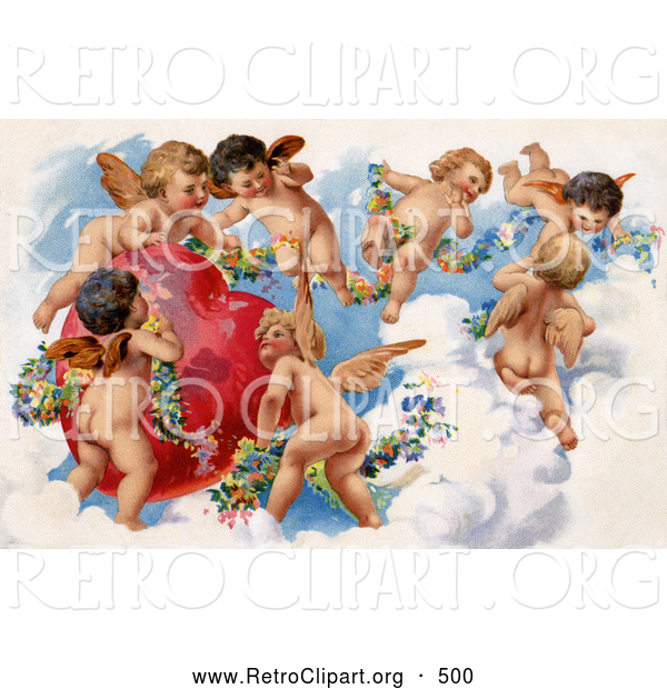 Retro Clipart of a Beautiful Painting of a Group of Playful Cherubs in the Clouds of Heaven, Decorating a Red Heart in Floral Garlands, Circa 1909