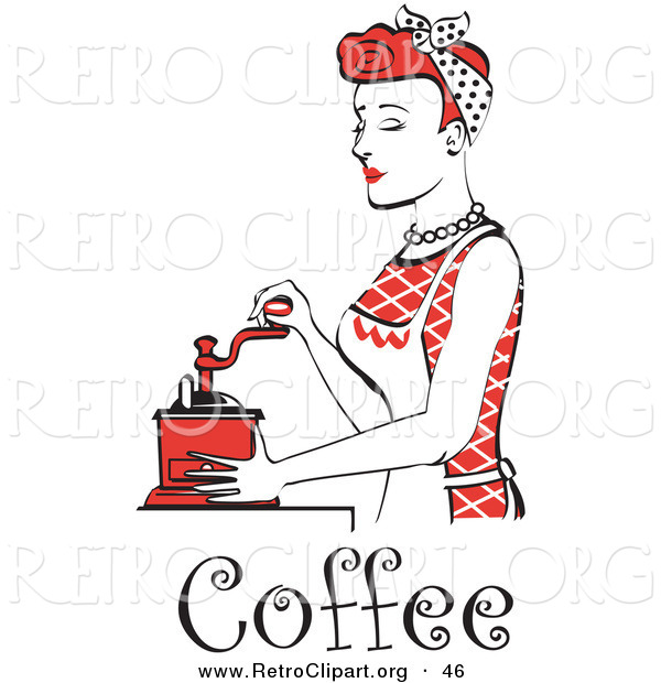 Retro Clipart of a Beautiful Red Haired Housewife or Maid Woman Wearing a Red Outfit Using a Manual Coffee Grinder, with Text