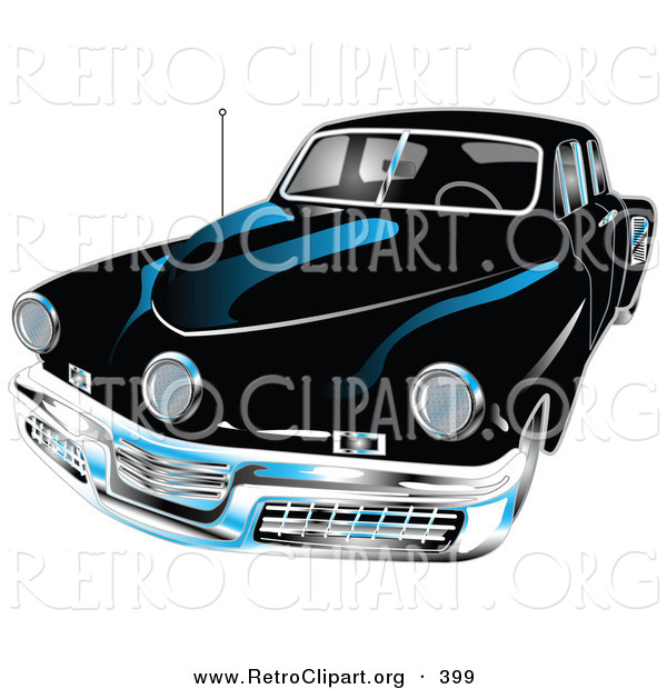 Retro Clipart of a Black 1948 Tucker Car with a Chrome Bumper and Details on White