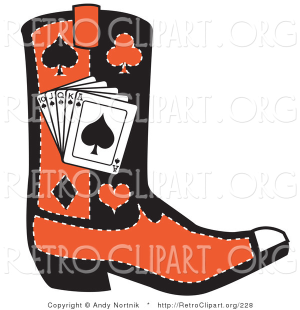 Retro Clipart of a Black and Red Cowboy Boot with Playing Cards and Silhouettes of a Spade, Club, Diamond and Heart on White