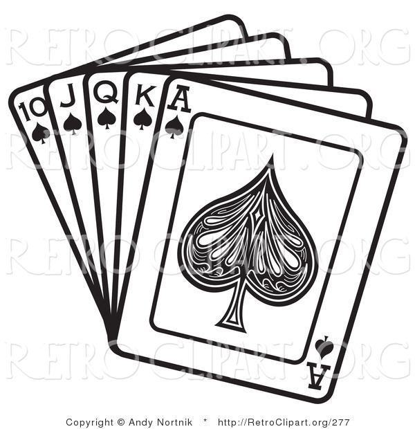 Retro Clipart of a Black and White Hand of Cards Showing a 10, Jack, Queen, King and Ace of Spades