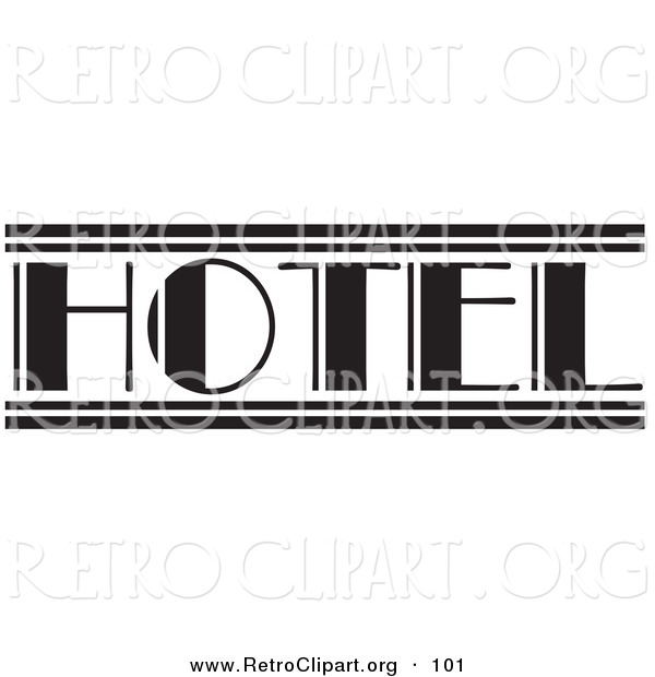 Retro Clipart of a Black and White Hotel Sign over White
