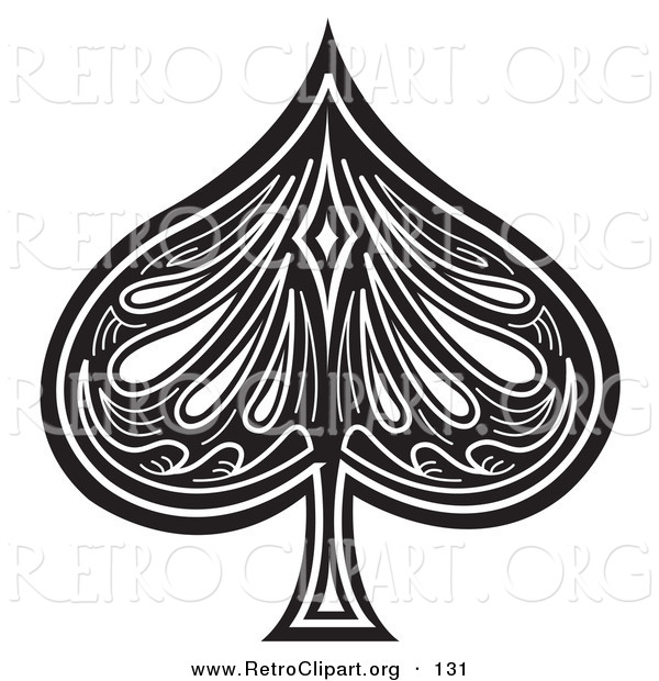 Retro Clipart of a Black Spade on a White Playing Card