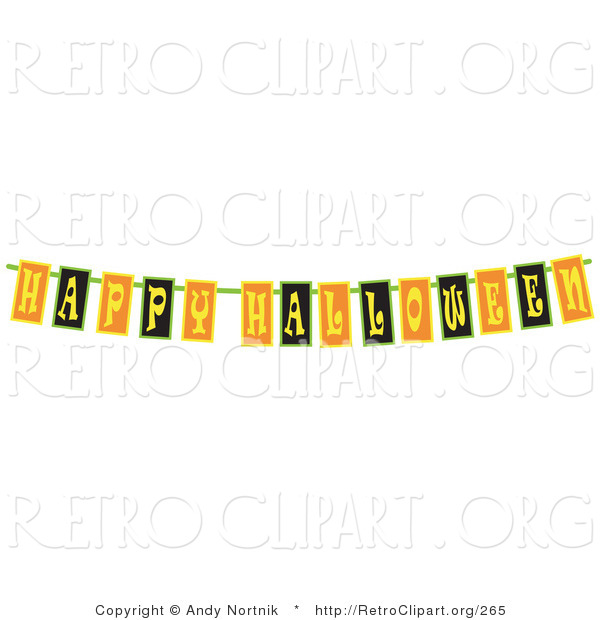Retro Clipart of a Black, Yellow and Orange Happy Halloween Banner Strung up for a Party
