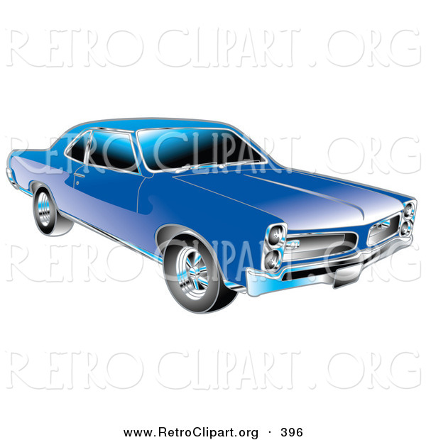 Retro Clipart of a Blue 1966 Pontiac GTO Muscle Car with Silver Detailing on the Front End and Around the Windows