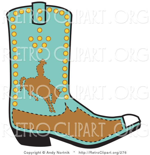 Retro Clipart of a Blue Boot Showing a Brown Silhouetted Cowboy Riding a Bucking Bronco