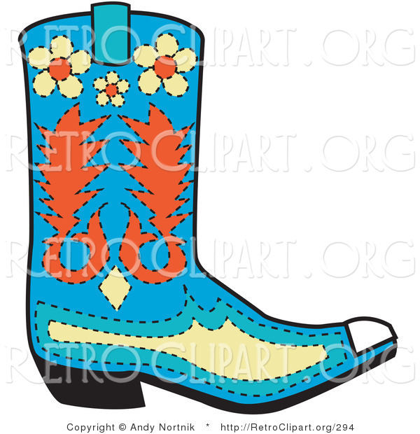 Retro Clipart of a Blue Cowboy Boot with Orange and Yellow Floral Designs