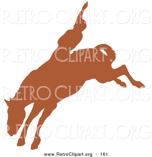 Retro Clipart of a Brown Silhouette of a Cowboy Riding a Bucking Bronco and Holding One Arm up in the Air in a Rodeo on White