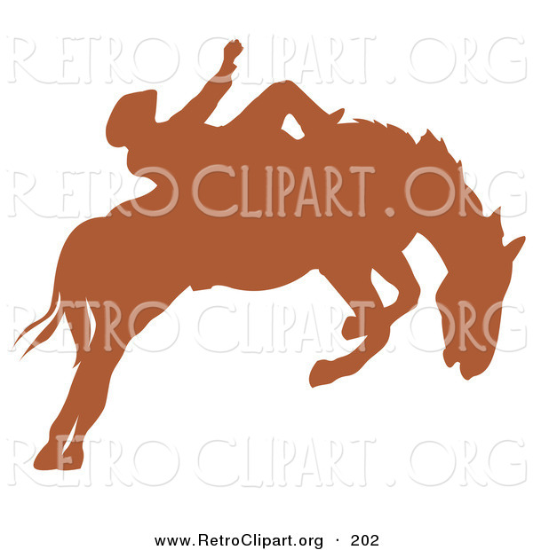 Retro Clipart of a Brown Silhouette of a Cowboy Riding a Bucking Bronco in a Country Rodeo