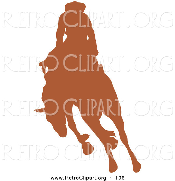 Retro Clipart of a Brown Silhouetted Cowboy Riding a Bucking Bronco in a Rodeo to the Left