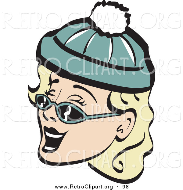 Retro Clipart of a Cheerful and Jolly Blond Woman Wearing a Snow Cap and Sunglasses, Singing Christmas Carols Retro
