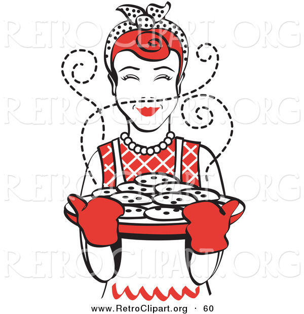 Retro Clipart of a Cheerful Red Haired Housewife Wearing an Apron and Oven Gloves, Smelling Fresh, Hot Chocolate Chip Cookies Right out of the Oven