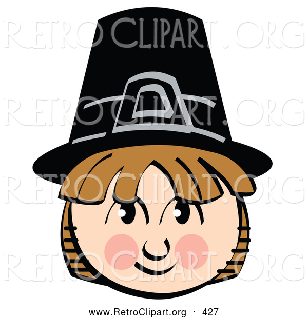 Retro Clipart of a Cheerful Smiling Pilgrim Boy Wearing a Black Hat