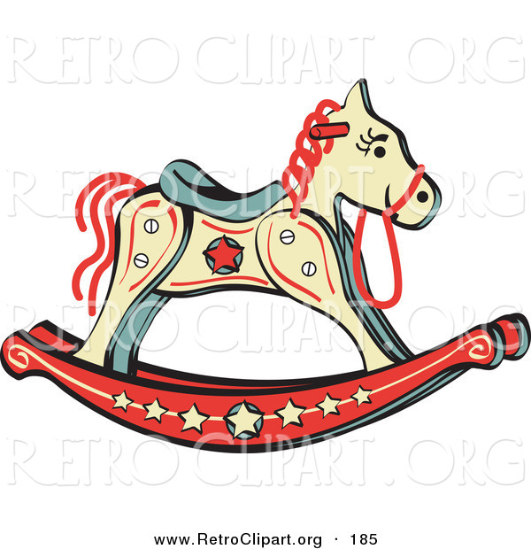 Retro Clipart of a Child's Rocking Horse with Star Decorations on White