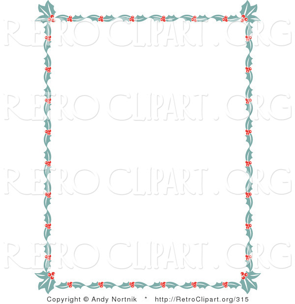 Retro Clipart of a Christmas Stationery Border of Holly Leaves and Berries Around a White Background Retro Clipart Illustration