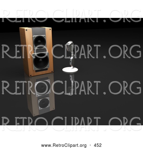 Retro Clipart of a Chrome Retro Microphone Beside a Speaker on a Dark Reflective Surface