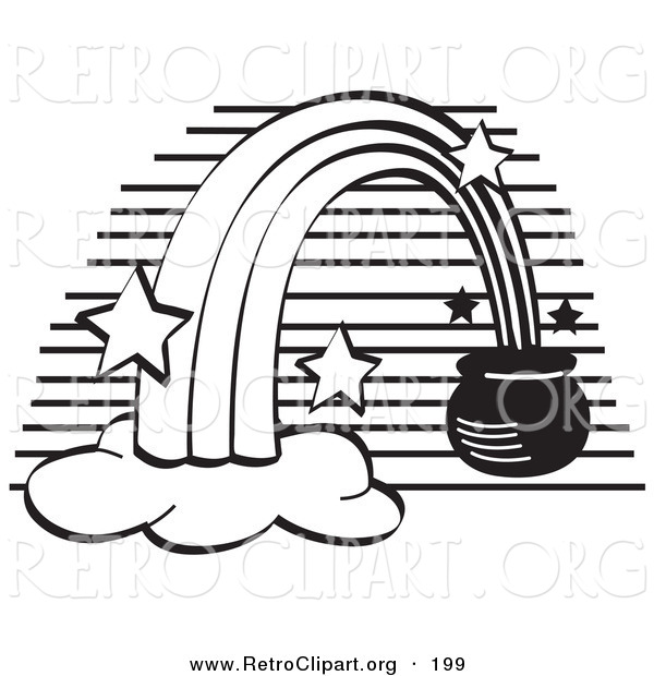 Retro Clipart of a Coloring Page of a Pot of Gold at the End of a Rainbow with Stars