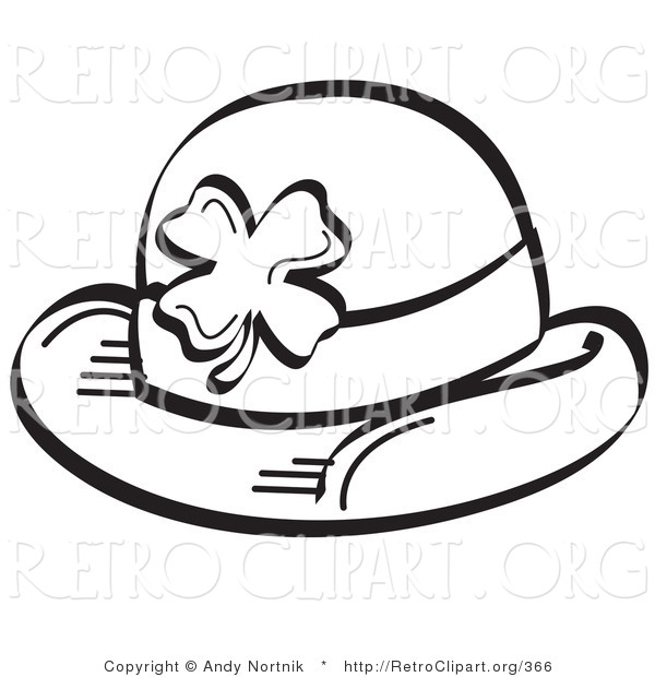 Retro Clipart of a Coloring Page of a St Paddy's Day Hat with a Clover on It