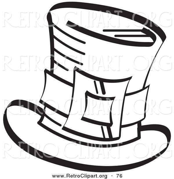 Retro Clipart of a Coloring Page of an Irish Leprechaun's Tophat with a Buckle in Black and White