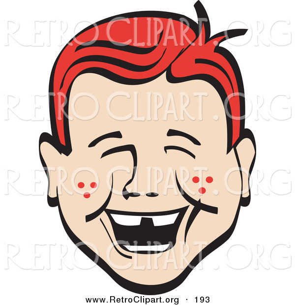 Retro Clipart of a Cute and Happy Red Haired Freckled Boy with Missing Front Teeth, Laughing Retro