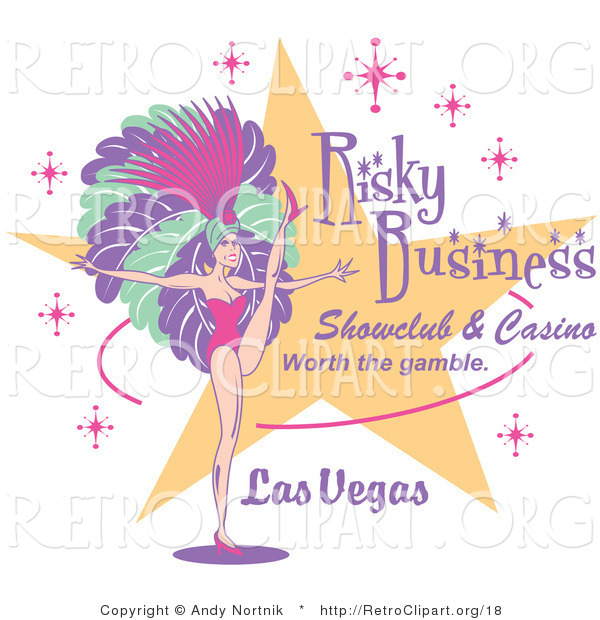 Retro Clipart of a Dancing Showgirl and Text