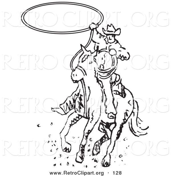 Retro Clipart of a Determined Roper Cowboy on a Horse Swinging a Lasso to Catch a Cow or Horse