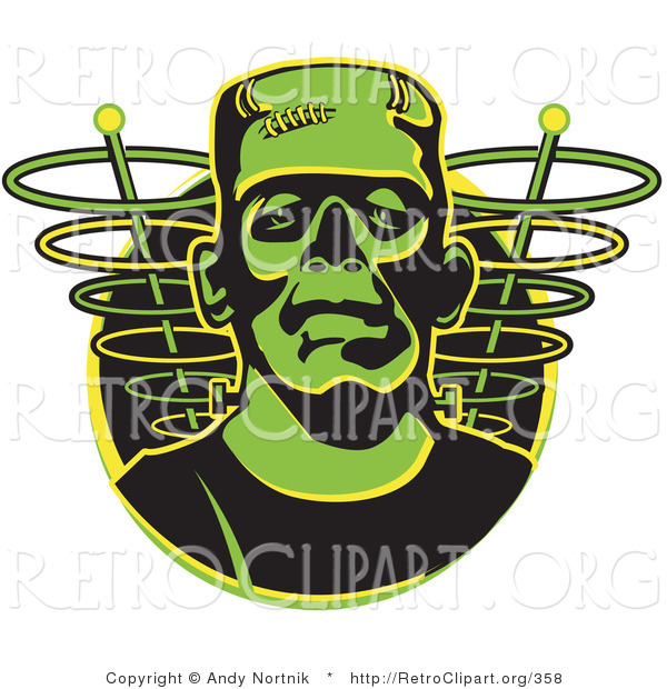 Retro Clipart of a Face of a Green Frankenstein Monster