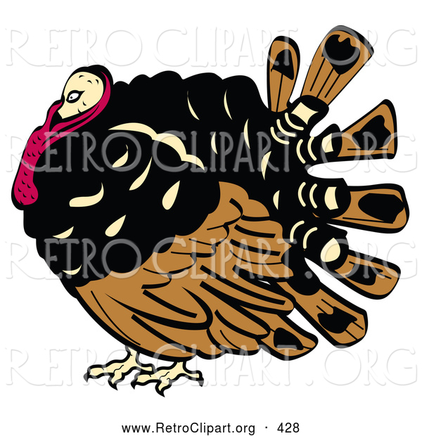 Retro Clipart of a Fat and Chubby Brown, Black and Red Turkey Bird with His Head Tucked in His Neck