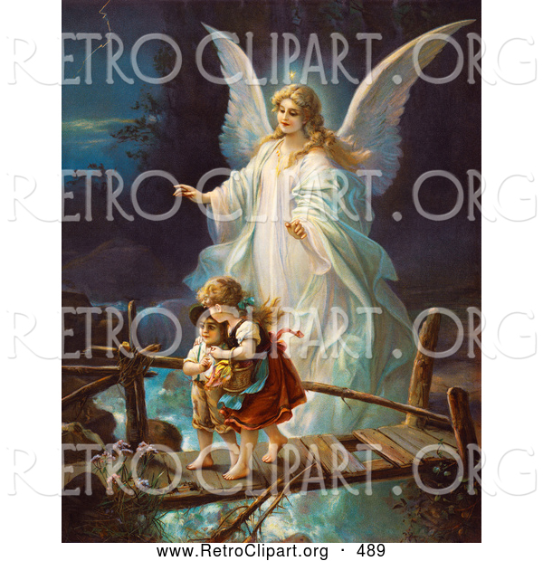 Retro Clipart of a Female Guardian Angel Protecting a Little Girl and Her Brother As They Cross over a River on a Narrow Dangerous Broken Bridge, Circa 1890