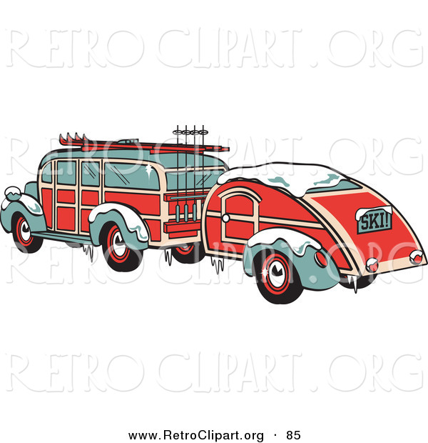 Retro Clipart of a Festive Green and Red Woody Car Hauling a Trailer and Carrying Skis and Poles on the Roof Retro