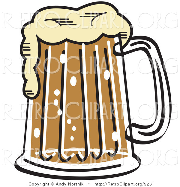 Retro Clipart of a Foaming Pint of Beer