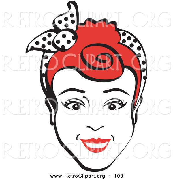 Retro Clipart of a Friendly Red Haired Woman Smiling and Wearing a Scarf Tied in Her Hair