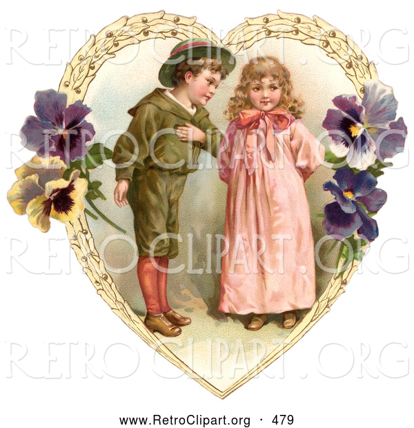 Retro Clipart of a Friendly Sweet Little Boy Trying to Woo a Little Girl in a Heart of Leaves and Pansy Flowers, Circa 1890
