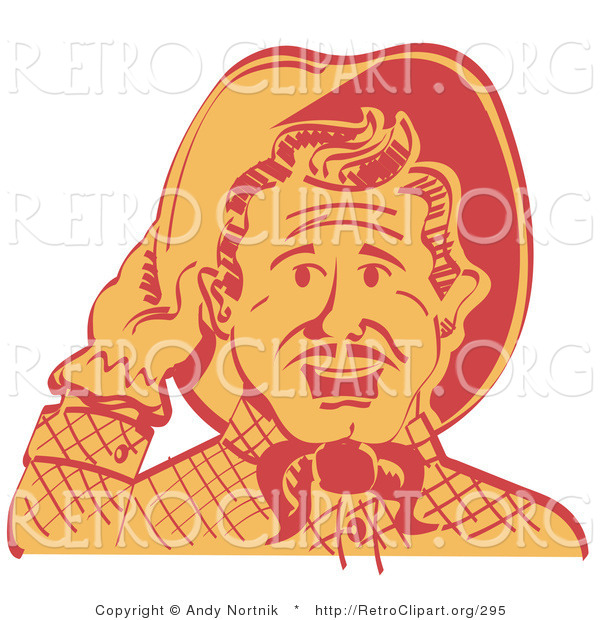 Retro Clipart of a Friendly Two Tone Cowboy Man Tipping His Hat While Saying Howdy